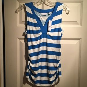 NY&C white and blue striped stretchy tank top